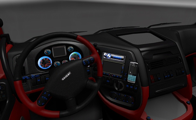 DAF Interior Red & White | ETS2planet.com