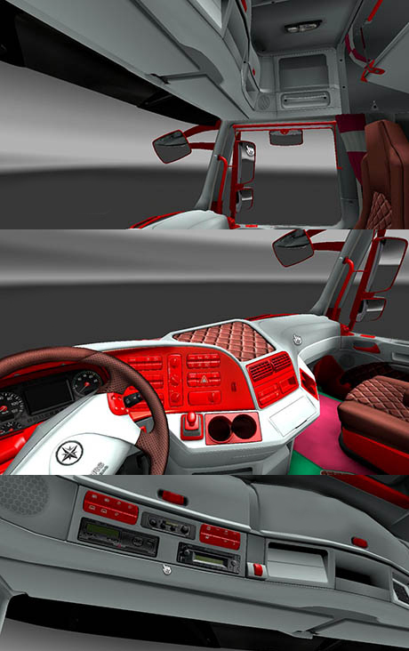Mercedes Red and White Interior