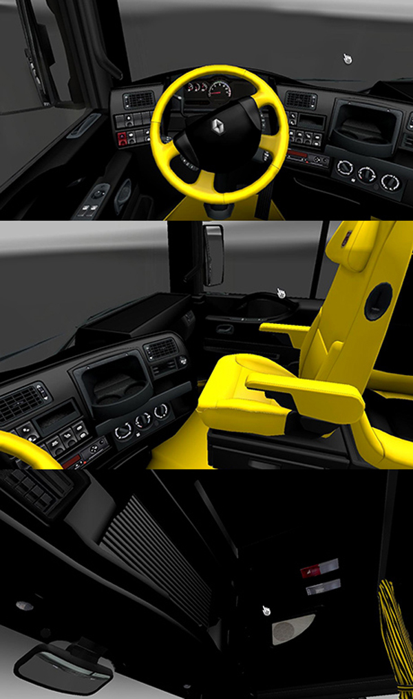 Renault Magnum Black and Yellow Interior