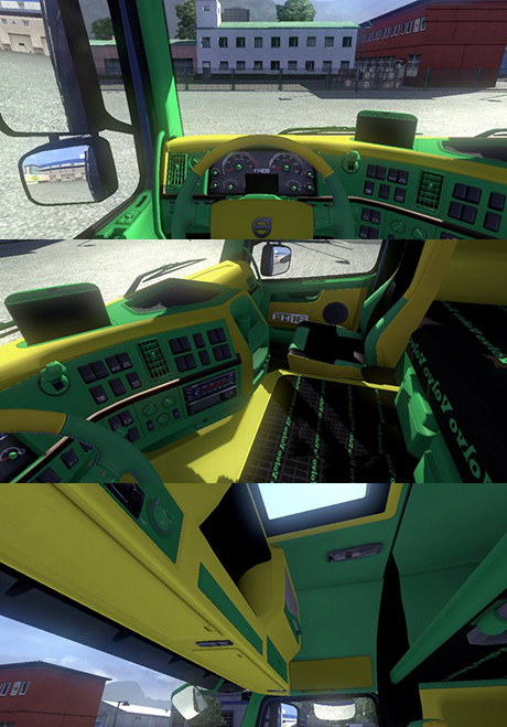 Volvo green and yellow Interior