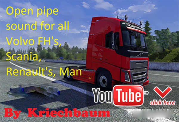 All Volvo FH, Scania, Renault, Man open pipe sound image