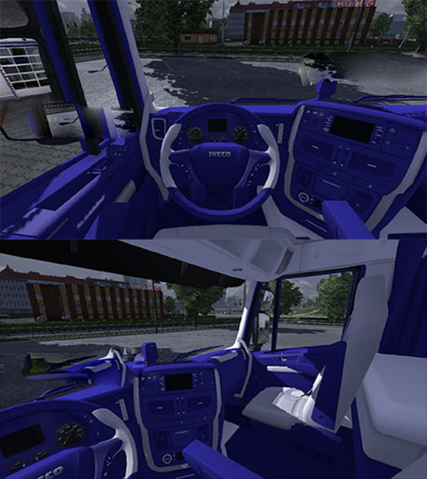 IVECO Hiway blue white interior