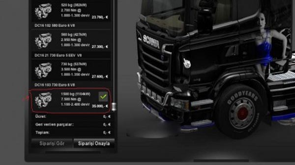 Scania Streamline 1500 – 2000hp Motor