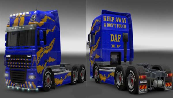 DAF XF Blue Yellow Skin