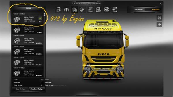 Iveco HiWay 978 HP Engine