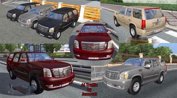 Cadillac Escalade in traffic