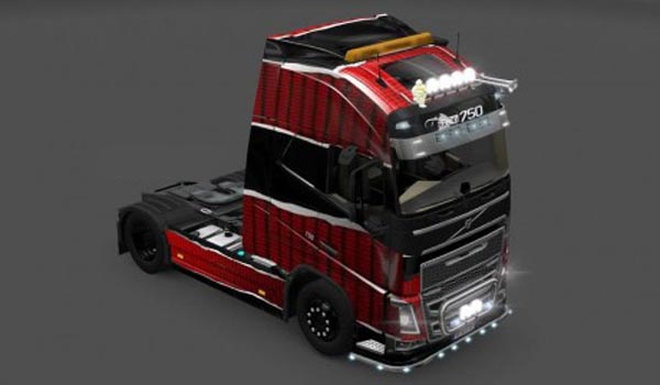 Volvo FH2012 Skin piel rojo negro
