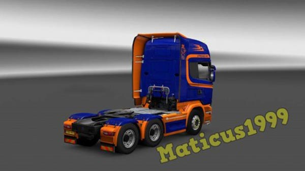 Orange and Blue Scania Streamline