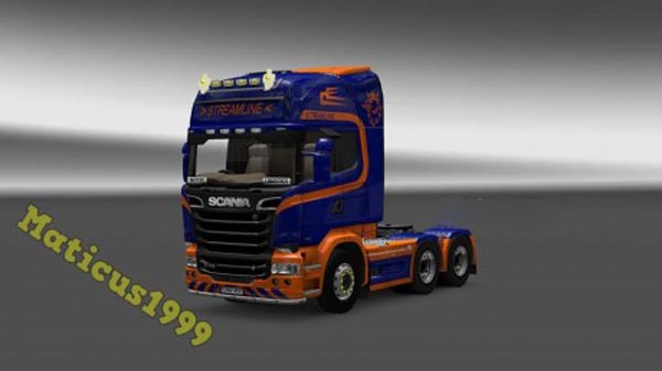 Orange and Blue Scania Streamline