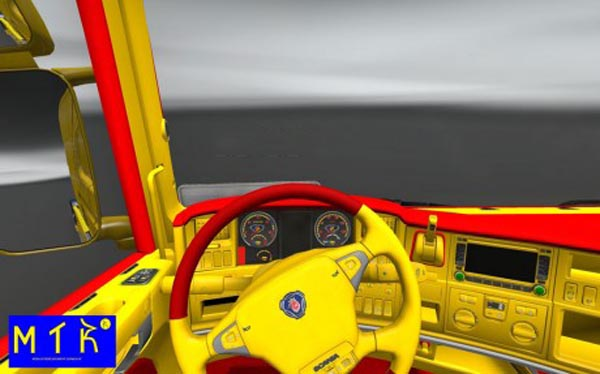Scania Red & Yellow Interior