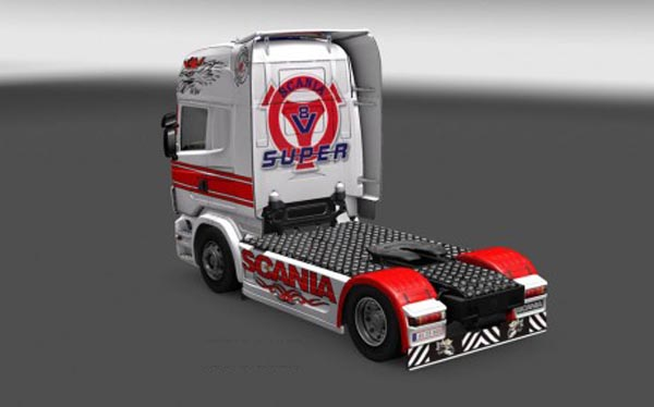 Scania R red white Skin