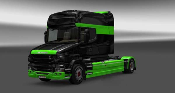 Scania T Black Green Skin