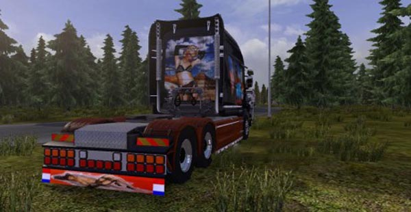 Scania T Woman and Car Skin