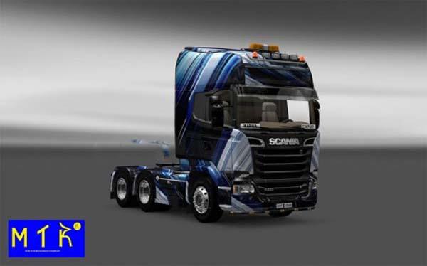 Skin Scania Streamline Blue Stripes