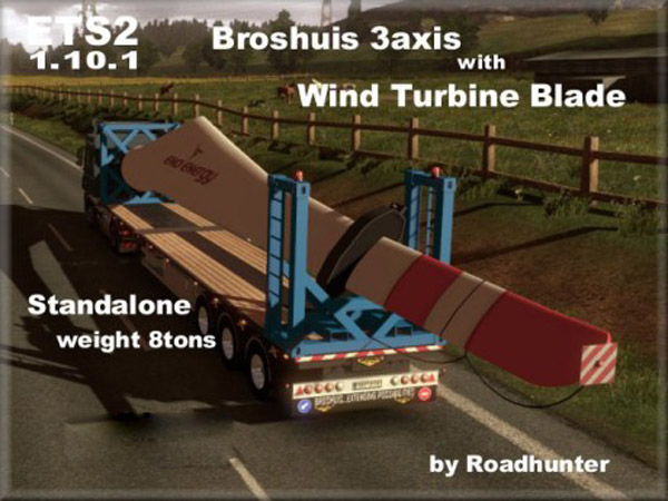 Broshuis 3 axis Trailer with Wind Turbine Blade