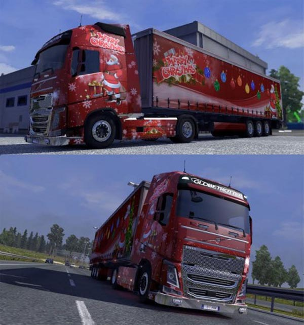 Chrismast Skin for Volvo FH16 2012 & Trailer