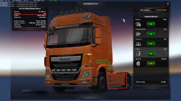 DAF XF Euro 6 Chassis and Fuel Tank