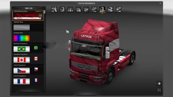 Renault premium LATVIA flag skin