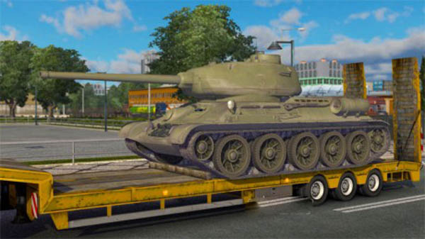 Trailer with a T-34 85 tank