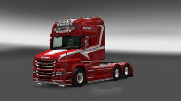Scania T Red White Skin