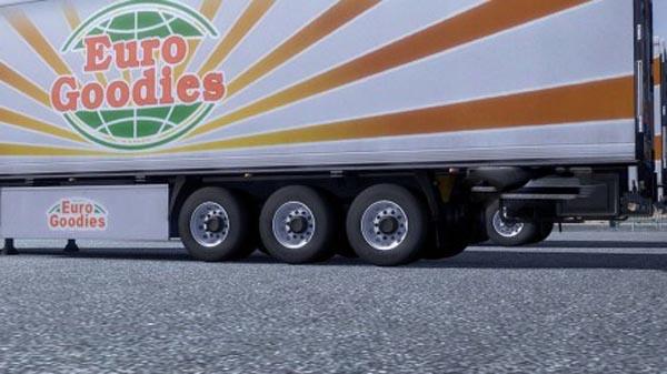 White trailer wheels