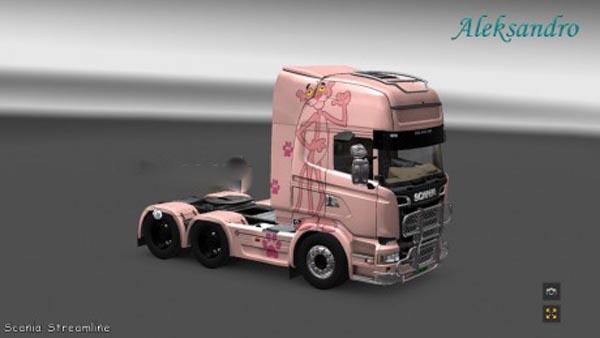 Scania Streamline Pink Panter Skin