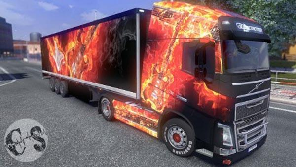 Volvo FH 2012 Fire Guitars Skin + Trailer