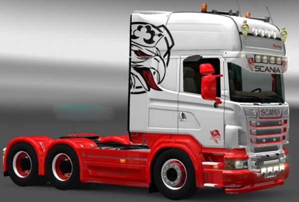 Scania Red White Skin
