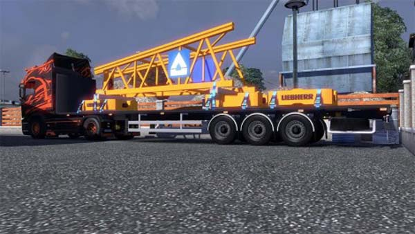 Flatbed with crane element