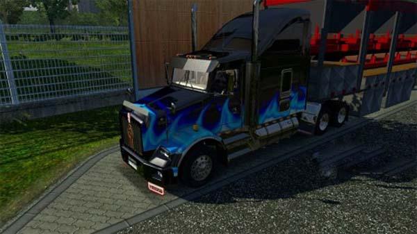 Kenworth T800 blue flame skin