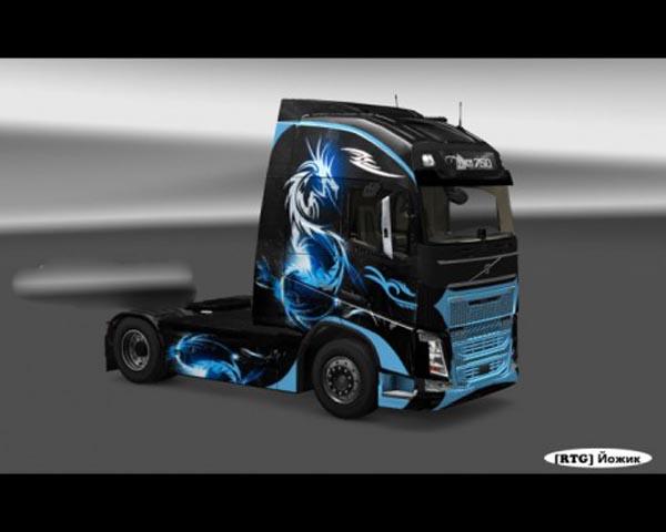 Skin Blue Dragon For Volvo FH2013 Ohaha
