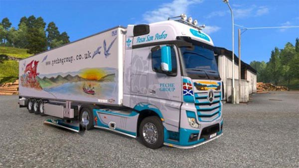 Skin Peche Group for Mercedes Actros MP4 + trailer