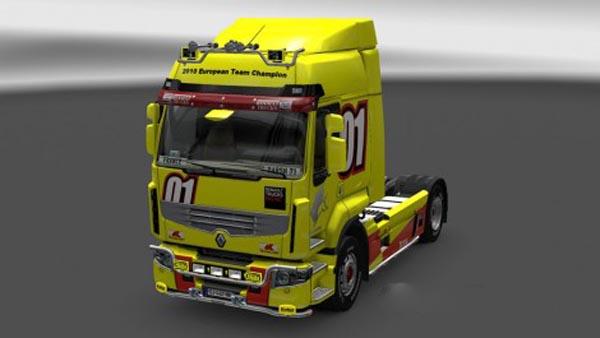 Renault Premium Racing Yellow Skin