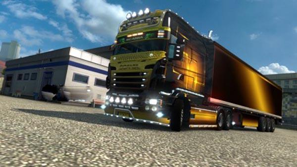 Skin Gold maniac for RJL Scania EXC LONGLINE + trailer