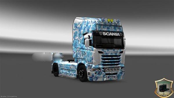 Skin Gzhel for Scania Streamline