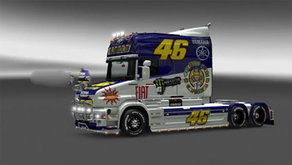 Valentino Rossi skin for Scania T-cab