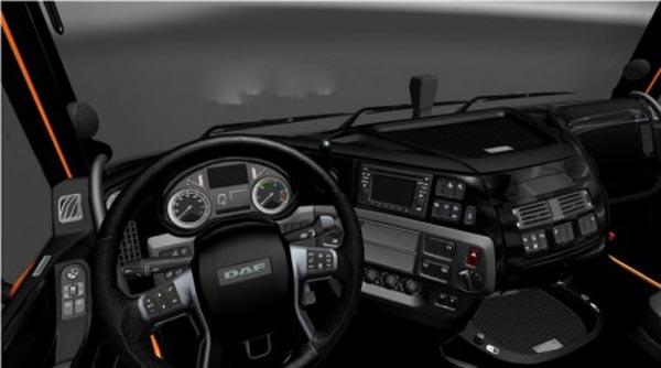 DAF XF Euro 6 Black Interior + Transmission + Interior Lighting