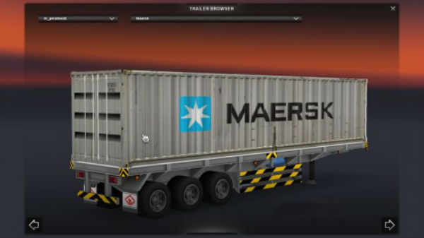 Maersk + Empty Flatbed Trailer