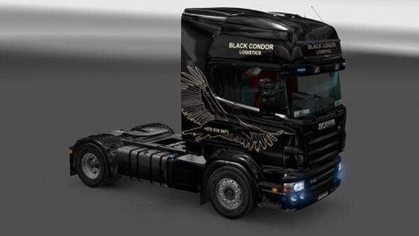 Scania RJL Black Condor Logistics Skin
