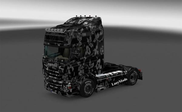 Scania RJL White Flowers Skin