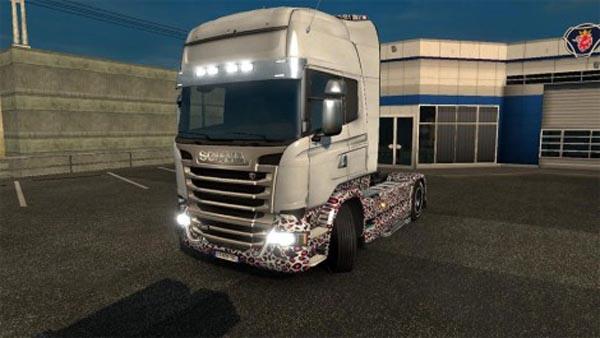 Scania Streamline white leopard skin