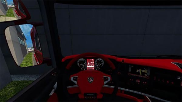 Scania R Black and Red Interiıor and Dashboard