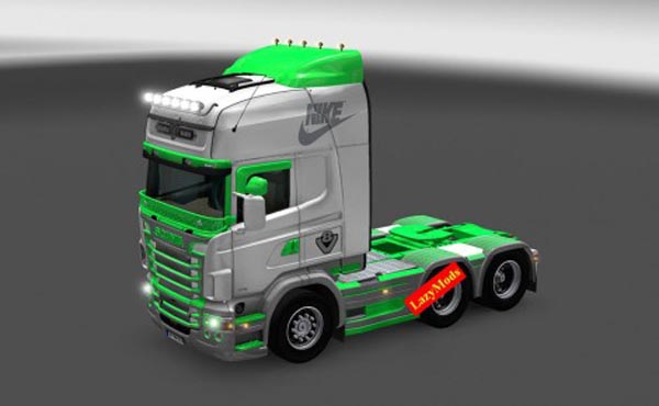 Scania RJL V8 Green and Gray Nike Skin