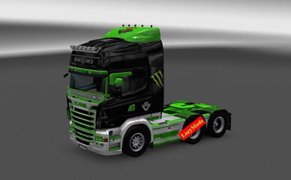 Scania RJL V8 Monster Energy Skin