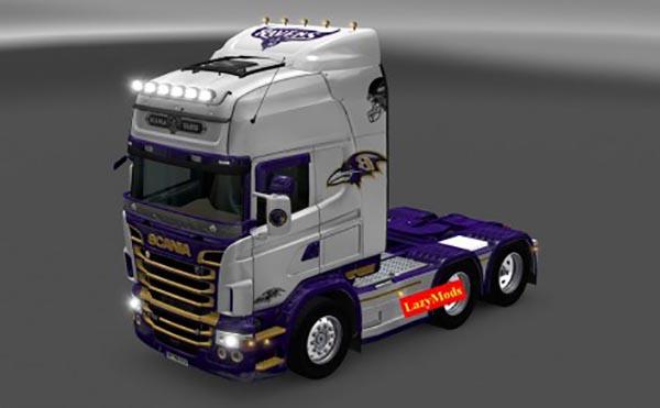 Scania RJL V8 Baltimore Ravens NFL Skin