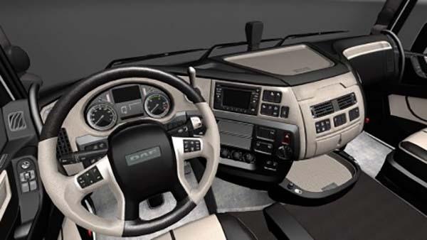 DAF XF Euro 6 Black White Leather Lux Interior