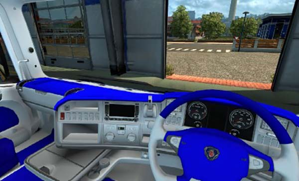 Scania R Interior Blue and White