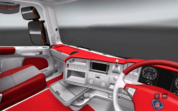 Scania r red and white interior