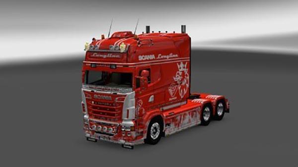 Scania RJL Longline Paintable Flame Skin