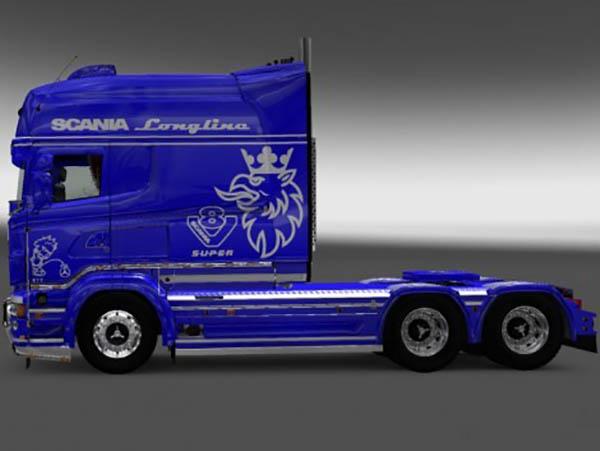 Scania RJL R Longline Paintable Stripes Skin